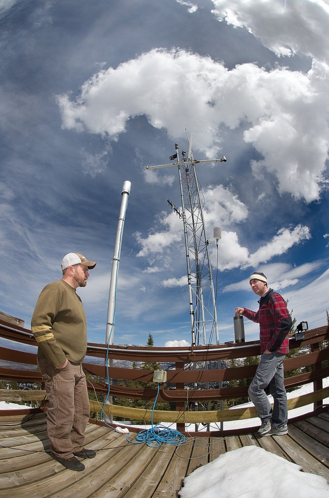 Research scientist and site manager Ian McCubbin, left, and Daniel Obrist, an associate professor at the Desert Research Center, stand outside the Storm Peak Laboratory near the top of the Morningside at Steamboat Ski Area in April 2012. The lab is a research center that integrates research and education by advancing the discovery and understanding within the field of aerosol and cloud interactions.