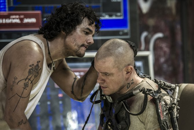 "Max Da Costa (Matt Damon) receives a new lease on life with some special equipment in ""Elysium."" The movie is about a future where the wealthy have abandoned Earth and live on a space station floating over the planet."