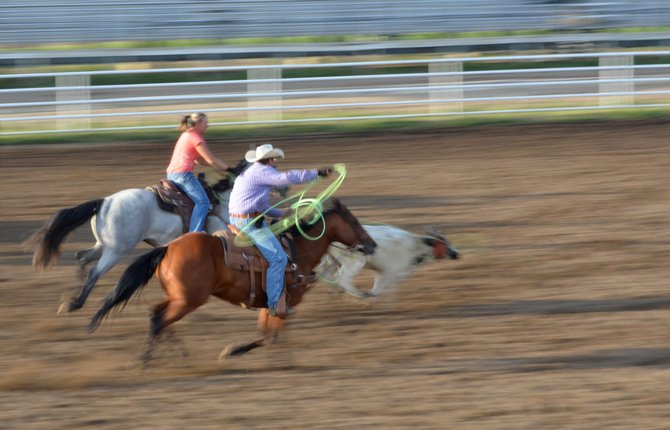 Willow Raley and Gary Rodarmel were among 126 teams entered in the jackpot team roping event at the Routt County Fair in Hayden. Raley, who lives in Baggs, Wyo., earned notoriety this summer when she became the first woman ever to qualify for the short round of team roping at Cheyenne Frontier Days, one of the biggest pro rodeos in the West.