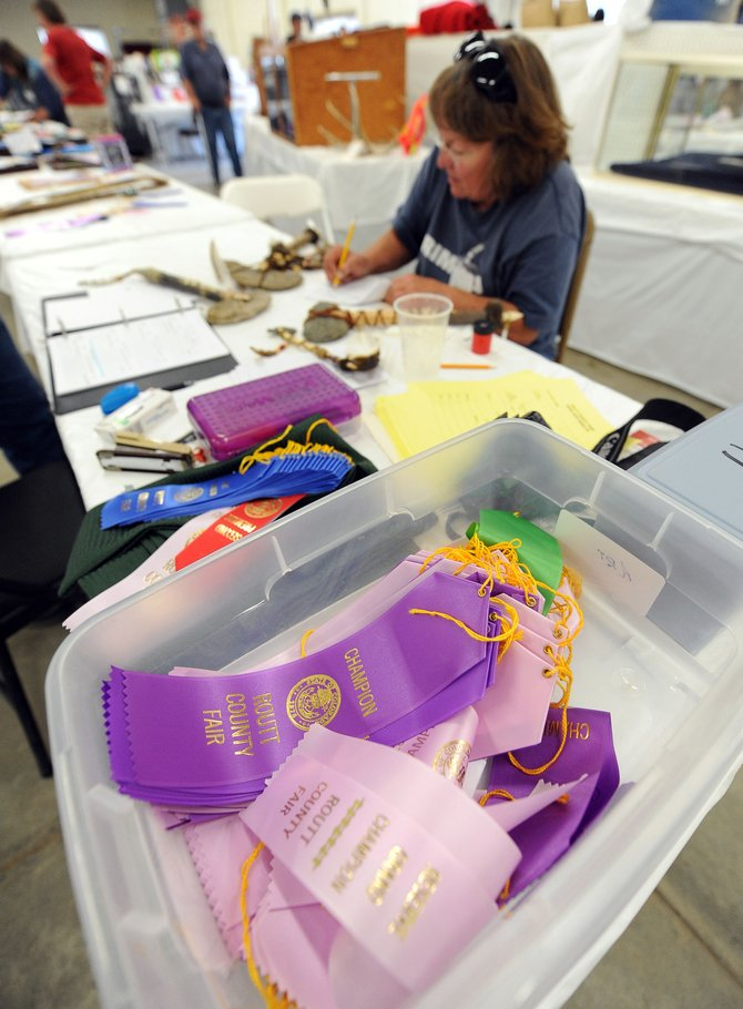 Ribbons await as Carolyn Altman writes down comments while judging a set of tomahawks Thursday during the Routt County Fair in Hayden. Ranking the best of Routt County isn't always easy for judges, but they said they're given guidelines, and they usually find those submitting entries simply happy to have their work out in the public and enjoyed.
