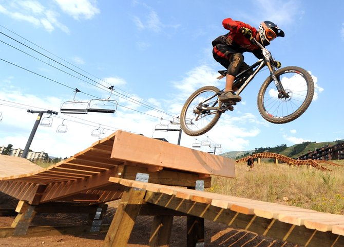 Dylan Gressett flies off a jump Saturday during the Enduro-X Race Series at Steamboat Ski Area.