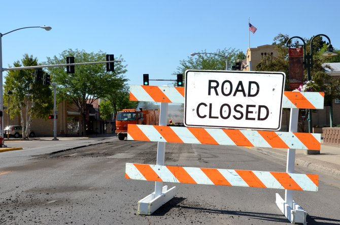 The 500 block of Yampa Avenue is closed to traffic today as CDOT crews perform milling and paving work. Similar work is scheduled for Tuesday from 6 a.m. to noon at the intersection of Yampa and Ninth Street.