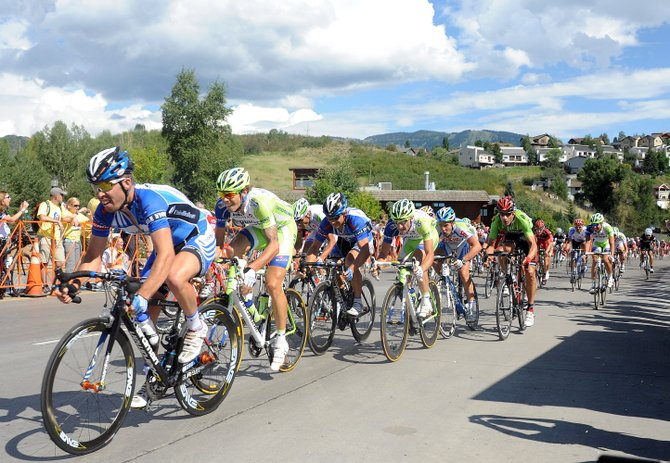 Teams jockey to get their sprinters into position as the lead elements of the peleton thunder into Steamboat Springs in 2011 near the finish line for the fourth stage of the USA Pro Cycling Challenge. This year's is expected to finish at about 4:45 p.m. Wednesday in downtown Steamboat.