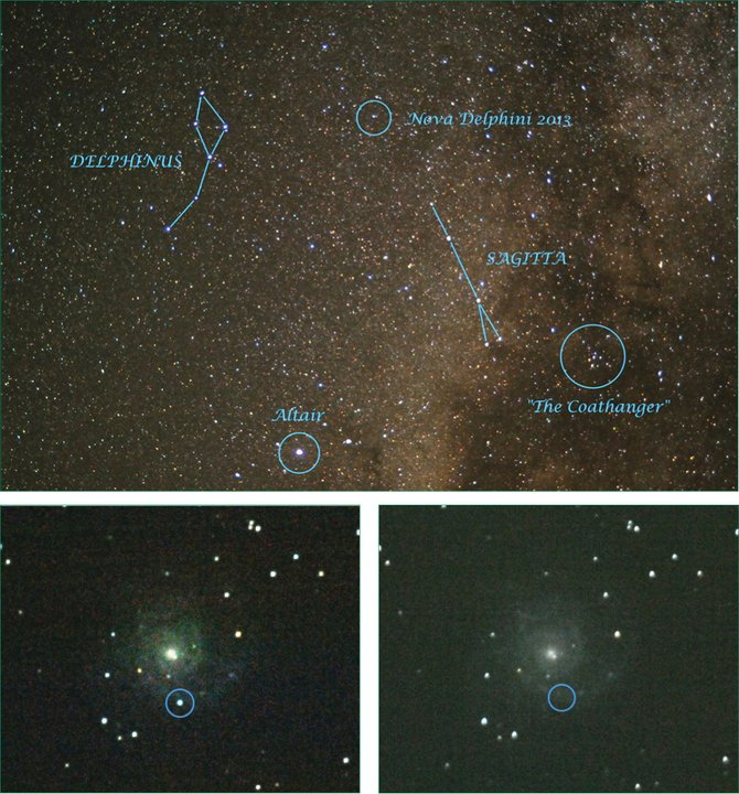 Top: Nova Delphinus 2013 is visible in the early evening sky near the constellation Delphinus. Sagitta, the arrow constellation, points it out for us.  Bottom left: Supernova 2013EJ, in the galaxy M74, requires a medium-sized telescope to see and is well worth the effort.  Bottom right: M74 is pictured before the supernova. It is in the Pisces constellation and is best seen after midnight.