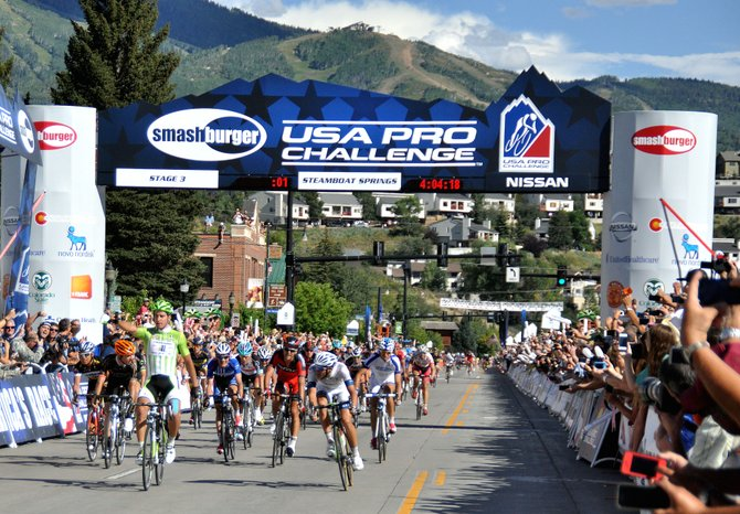 Slovakian sprinter Peter Sagan celebrates at the front of the pack Wednesday in downtown Steamboat Springs following his win in Stage 3 of the USA Pro Challenge.