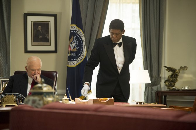 "Cecil Gaines (Forest Whitaker) oversees domestic duties in the Oval Office while President Dwight D. Eisenhower (Robin Williams) makes a difficult decision in ""The Butler."" The movie is a true story about one man's experiences working in the White House from the 1950s to '80s."