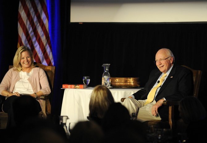 Former Vice President Dick Cheney and his daughter, Senate candidate Liz Cheney, speak Friday night during the Freedom Conference in Steamboat Springs.