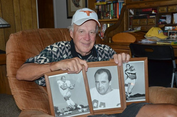 Steve Stephenson poses with some photos of himself during his time with the Dallas Cowboys. Stephenson has been in Craig since 2003 and worked as a substitute teacher most of those years. Before coming to Craig, he lived a colorful and varied life.
