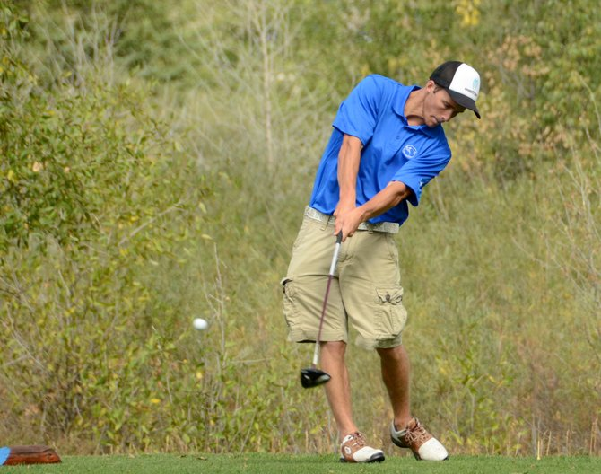 Taft Cleverly tees off the ninth hole at Yampa Valley Golf Course on Wednesday in Craig. Cleverly shot 93 on the day for the Moffat County boys golf team, which posted a team score of 258 in its home tournament. It was the Bulldogs' lowest score of the year.