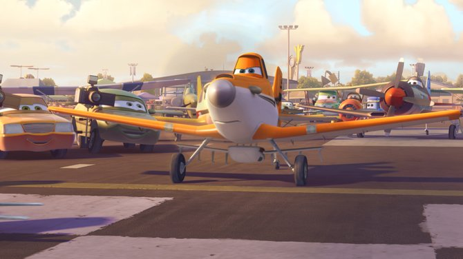"Dusty Crophopper (voice of Dane Cook) prepares for takeoff in ""Planes."" The movie is a spinoff of Pixar's ""Cars,"" featuring airplanes competing in a race around the world."