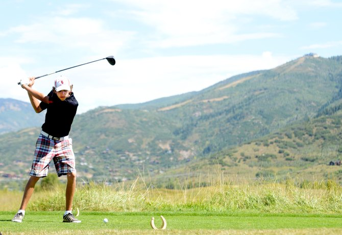 Casey Weston eyes his tee shot Thursday at Haymaker Golf Course in Steamboat Springs. The Steamboat Springs High School golf team played host Thursday to its only home tournament of the season.