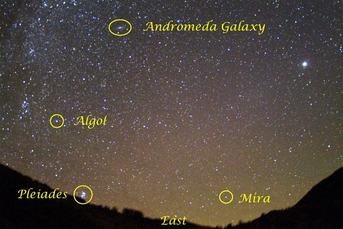 Look for the variable stars Mira and Algol together in the eastern sky around 11 p.m. in mid-September. While you're in the area, see if you can spot the nearby Pleiades star cluster and Andromeda Galaxy, both visible to the naked eye on a clear, dark night.