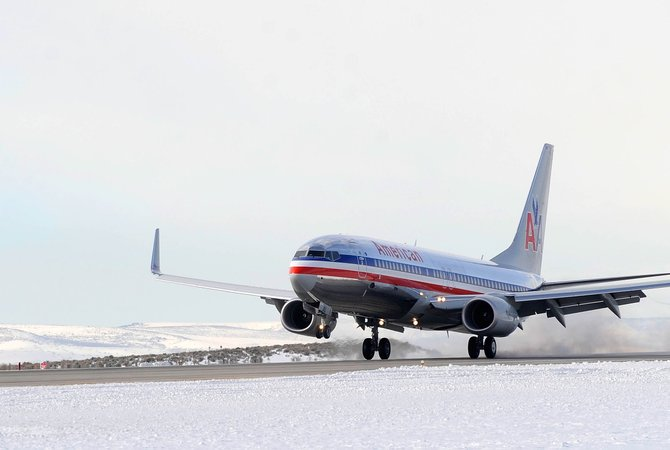 An American Airlines jet originating from Chicago lands at Yampa Valley Regional Airport. Although the number of seats from Chicago will be cut significantly this winter season, Steamboat will see gains in flights from Seattle, Los Angeles and Newark.