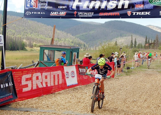 Koby Vargas crosses the finish line Sept. 8 in the sophomore category at a high school mountain bike race at Snow Mountain Ranch near Winter Park. This is the first year for a Steamboat high school mountain bike team, and 14 athletes signed up to participate.