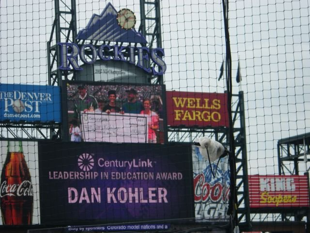 The display at the Colorado Rockies game shows Soroco Middle School history teacher Dan Kohler as he accepts the CenturyLink Leadership in Education award.