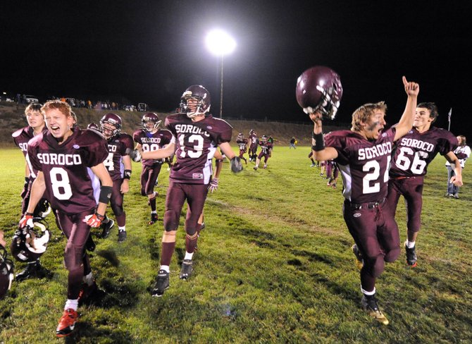 The Soroco High School football team celebrates after perhaps its biggest win of the past decade. It beat Hayden 26-6 on Friday in Oak Creek, snapping a 10-year losing streak to its cross-county rival. The Rams won the battle on the offensive and defensive lines, and that paved the way for a dominating running attack that controlled the tempo of the game.