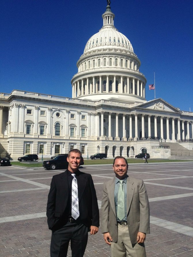 Sean Heskett, right, owner and chief technology officer of Zirkel Wireless, and Jared Alpe, senior field technician, traveled to Washington, D.C., as part of a larger delegation of Wireless Internet Service Providers Association members.