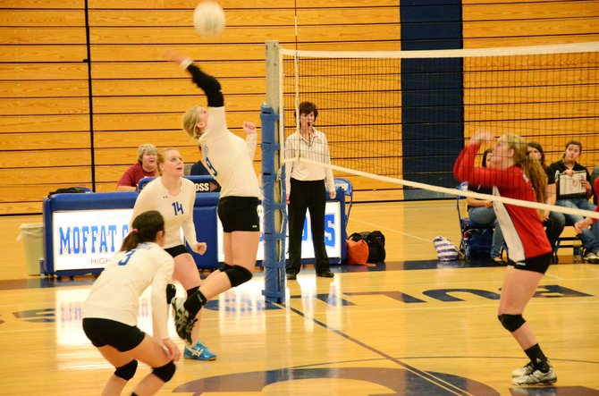 Moffat County High School senior Ashley Whiffen gets ready to drive the ball over the net.