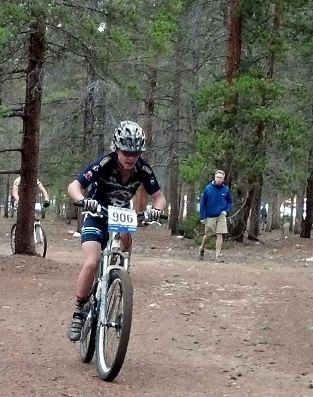 Jett Seymour rides Sunday in a high school mountain bike event in Leadville. Seymour finished second in the freshman boys race.