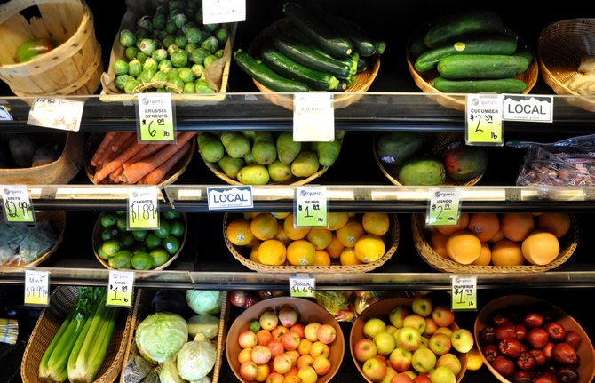 A variety of fruits and vegetables line the shelves of Bamboo Market in downtown Steamboat Springs. The 5-2-1-0 challenge called for participants to eat at least five servings of these foods a day.