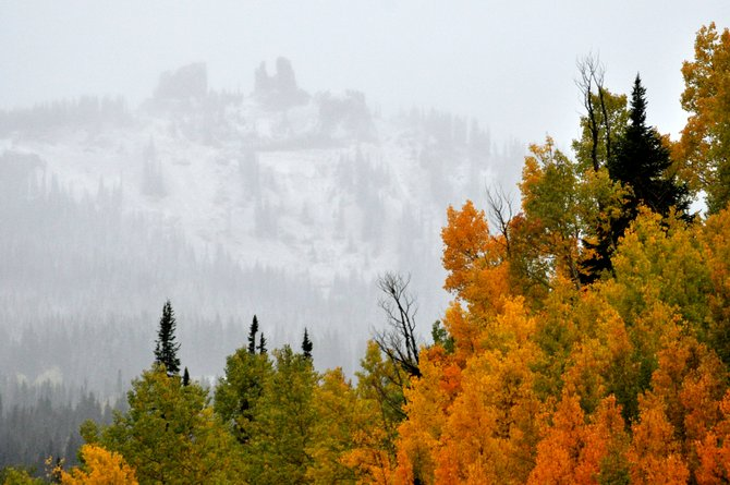 Snow falls on Rabbit Ears Peak at sunrise Friday above a grove of colorful aspen trees.