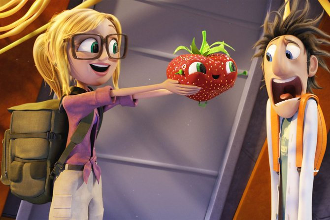"Inventor Flint Lockwood (voice of Bill Hader) has a less-than-brave reaction to Barry the Strawberry in ""Cloudy with a Chance of Meatballs 2."" The movie is a follow-up to the 2009 animated film about a town overwhelmed by food-based weather. In the sequel, the town is inhabited by food/animal hybrids."