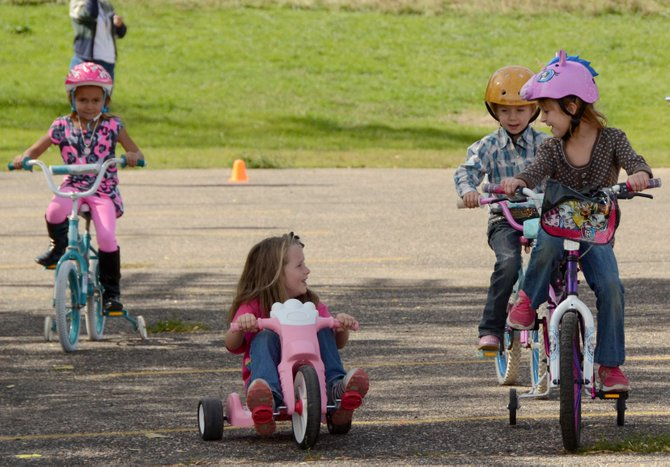 Girls at the Calvary Baptist School were in good spirits during their 15-minute ride Tuesday.