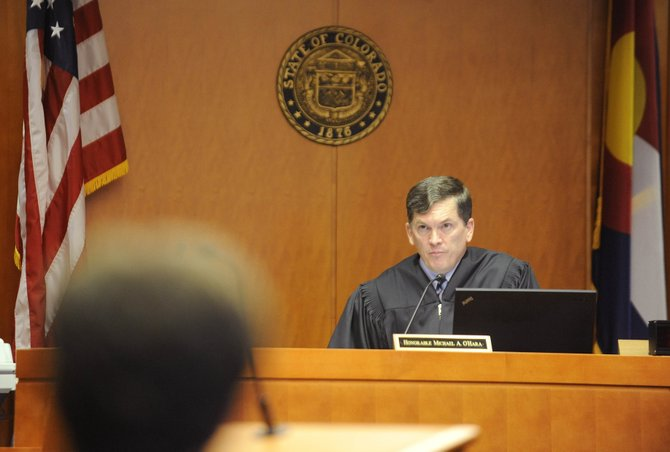14th Judicial District Chief Judge Michael O'Hara speaks during Friday's hearing at the Routt County Justice Center.