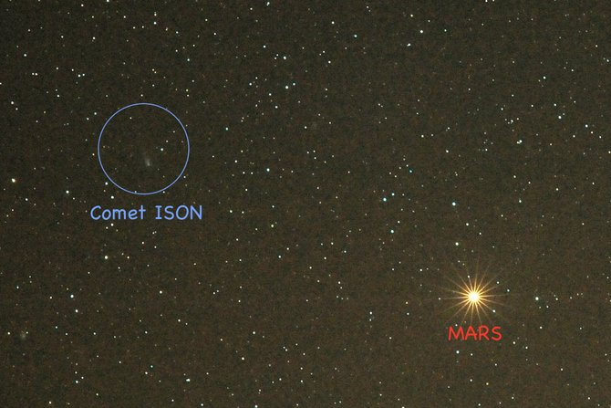 Look for Comet ISON in the eastern sky using binoculars or a telescope starting this week at about 5 a.m.local time, less than a thumb's width to the left of the Red Planet, Mars. The comet still is too faint to be seen with the naked eye, but that will change throughout the coming weeks as it falls faster and faster toward its Thanksgiving Day rendezvous with the sun.