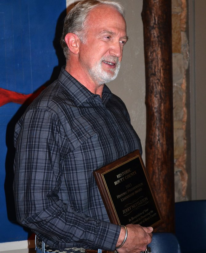 Jerry Nettleton, of Steamboat Springs and Peabody Energy's Twentymile Coal Co., was presented the Preservation Leadership Award by Historic Routt County on Tuesday night for his years of volunteer efforts on the preservation of the Foidel Canyon Schoolhouse in western Routt County.
