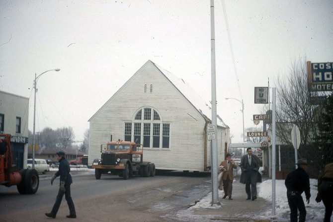 The old Congregational Church building gets moved, in March of 1960, along Victory Way to its new home on Green Street where it would serve as St. Mark's Episcopal Church.