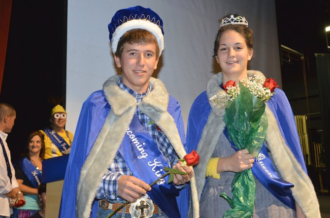 Moffat County High School seniors Jay Hayes, left, and Allie Ehlers remain awestruck in the MCHS auditorium after being crowned Homecoming King and Queen on Thursday morning. All homecoming honorees will ride in the Friday parade and will be acknowledged as part of the pre-game festivities Friday night.