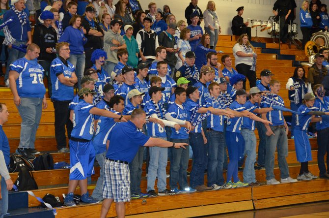 Students participate in a chant Friday at Moffat County High School's pep assembly.