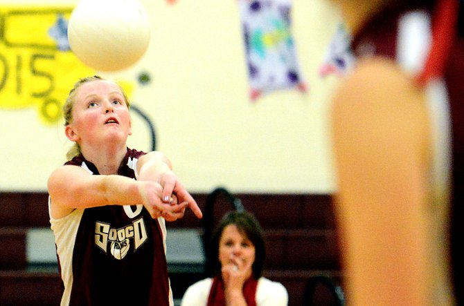 Soroco's Leah Walorski bumps the ball Friday against Hotchkiss. The Rams lost the game in four sets.