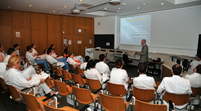 Henry Fabian leads a workshop on orthopedic surgery at the Hannover Medical School in Hannover, Germany.
