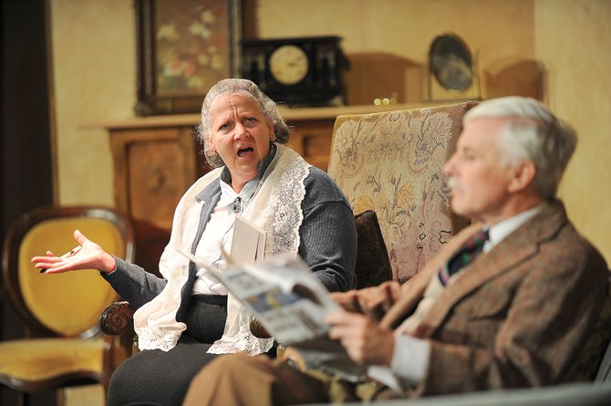 "Nina Rogers playing the part of Mrs. Boyle shares a scene with Bill Cousins playing Major Metcalf in Agatha Christie's ""The Mousetrap."" The production opens with a 7 p.m. performance Friday. Doors open at 6:30 p.m. and tickets are available at All That Jazz or at www.chieftheater.com and are $15 for adults and $10 for students."