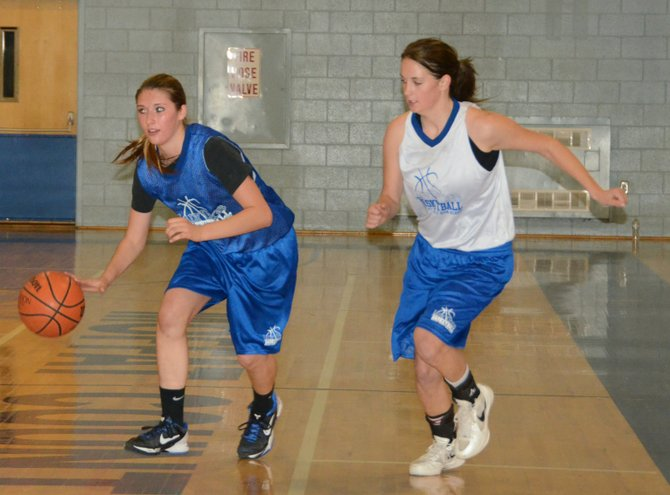 Katia Voloshin, left, drives to the basket while Allie Ehlers pursues during a scrimmage Thursday at Moffat County High School. The girls basketball team, along with other winter sports, began practice this week and is doing a little bit of everything to get ready for the season.