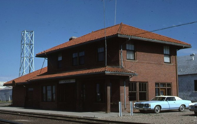 The Craig Depot, the entry point to town for many years, still was serving as a freight office in 1975, when this photo was taken.