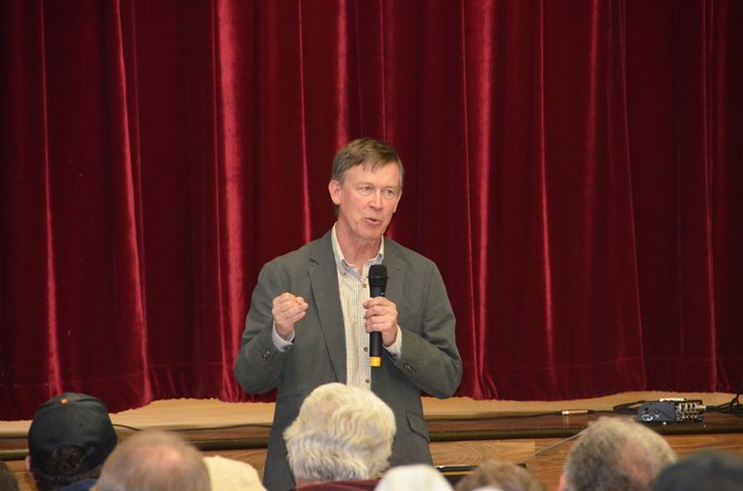 Colorado Gov. John Hickenlooper visited Craig Monday for a town hall meeting at the Moffat County Fairgrounds Pavilion. He discussed a variety of issues with residents of Northwest Colorado, including gun laws, energy and the sage grouse initiative.