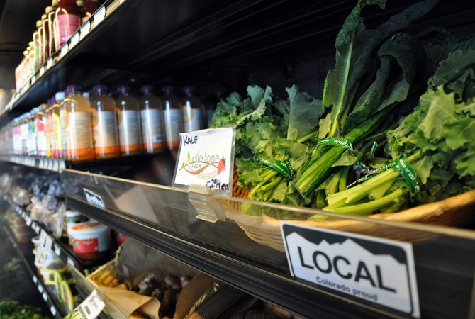 Fresh Kale from Strawberry Park is proudly displayed on a shelf at Bamboo Market in downtown Steamboat Springs. The city and several community organizations are talking about the possibility of creating a local food and product processing hub at the vacant TIC campus.