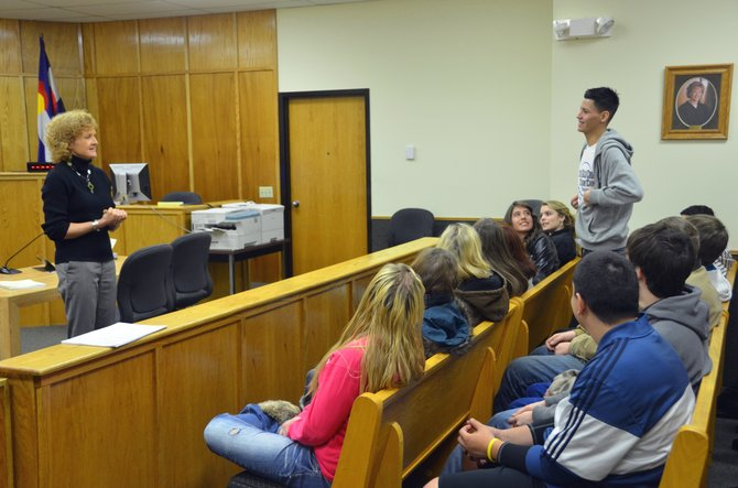 Moffat County Court Judge Sandra Gardner meets with the students of Moffat County High School teacher Liane Davis-Kling's government class Wednesday afternoon. As part of Law Week, students visited the Moffat County Courthouse, the jail at the Public Safety Center and met with officials in local law enforcement.