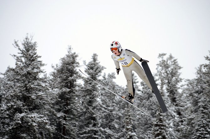 Steamboat Springs Winter Sports Club's Decker Dean takes his trial jump during Saturday's Nordic combined competition at Howelsen Hill.