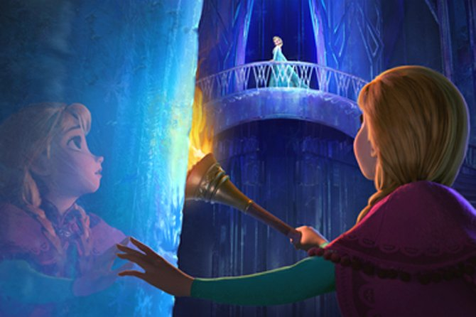 "Anna (voice of Kristen Bell) enters the ice palace of her sister Elsa (Idina Menzel) in ""Frozen."" The movie is about a princess whose sister's magical powers over cold weather cause chaos for their kingdom, a story inspired by Hans Christian Andersen's ""The Snow Queen."""