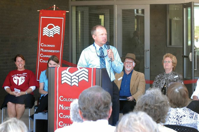 Gene Bilodeau spoke at the ribbon-cutting ceremoney for CNCC's new campus in Craig back in 2011. After nearly two decades with the college, Bilodeau will be moving on to South Dakota at the end of this year. CNCC will host a farewell gathering in his honor from 5 to 7 p.m. next Tuesday.