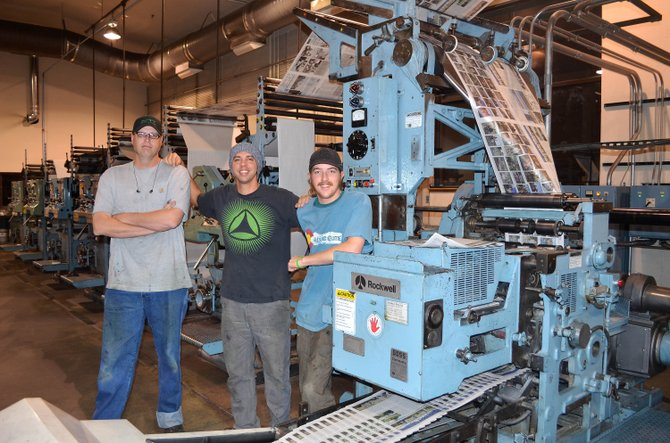 The Tuesday night press room crew at the Steamboat Pilot & Today arrives for work at 9 p.m. and works through the night to print the newspaper. Pictured, from left, are Jeremy Boyd, Anthony Mendolia and Ross Boettcher.
