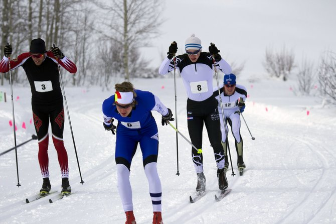 Steamboat Springs Winter Sports Club's Lars Hannah, 8, tries to make up ground on the field during the U20-U18-Senior sprint race Saturday in the Crested Butte Solstice Showdown.