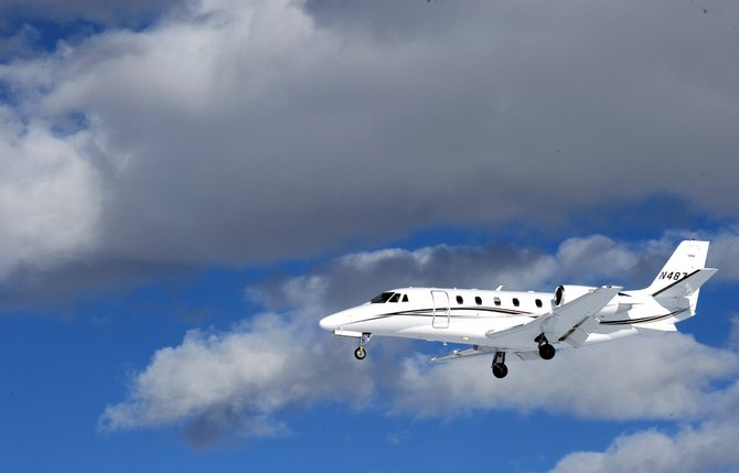 A jet airplane lands at Yampa Valley Regional Airport near Hayden. The airport has announced its public tour dates for each month through May.