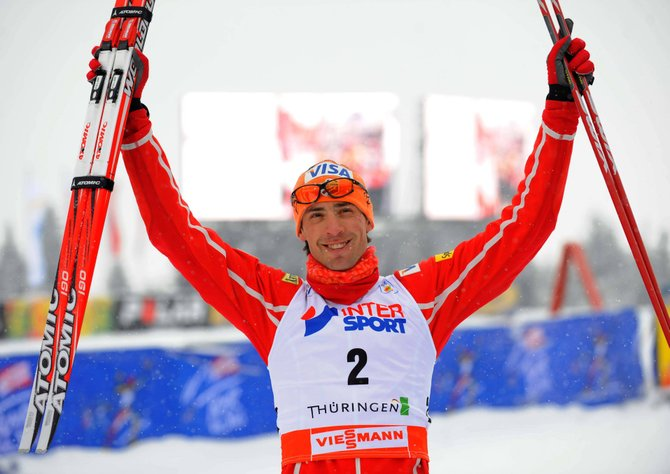 Johnny Spillane celebrates his first World Cup victory in Oberhof, Germany, in 2010.