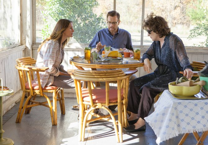 "Barbara Weston-Fordham (Julia Roberts) has a tense conversation with her husband, Bill (Ewan McGregor), and her mother, Violet, (Meryl Streep), in ""August: Osage County."" The movie is an adaptation of the award-winning play about a dysfunctional family forced to reconvene during a crisis."