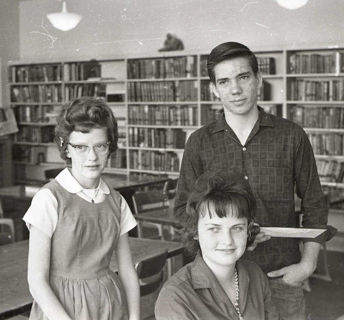 Craig winners of the local spelling bee were ready for the trip to Denver in April of 1963. Left to right are Maureen Ellgen (Rane) local third place winner and contest alternate, Cheryl Pankey (Tomberlin) who took first place locally, and Joe Shaffer, who placed second. They competed against almost three hundred entrants that year in hopes of winning the privilege of competing on the national level.